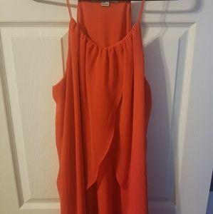 Red orange flowy dress